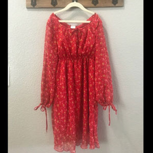 Red Flowing Floral Prairie Dress size 16 Girls